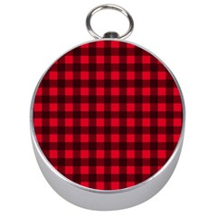 Red And Black Plaid Pattern Silver Compasses by Valentinaart