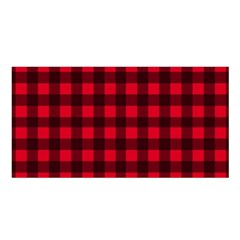 Red And Black Plaid Pattern Satin Shawl by Valentinaart