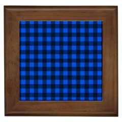 Blue And Black Plaid Pattern Framed Tiles