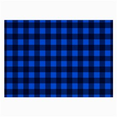 Blue And Black Plaid Pattern Large Glasses Cloth by Valentinaart
