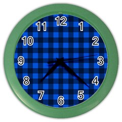 Blue And Black Plaid Pattern Color Wall Clocks by Valentinaart