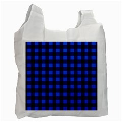 Blue And Black Plaid Pattern Recycle Bag (one Side) by Valentinaart