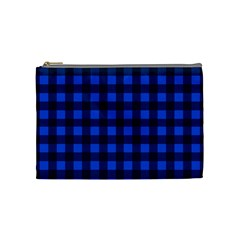 Blue And Black Plaid Pattern Cosmetic Bag (medium)  by Valentinaart