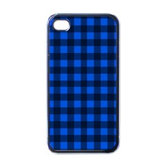 Blue And Black Plaid Pattern Apple Iphone 4 Case (black) by Valentinaart