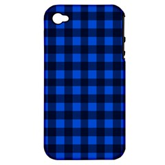 Blue And Black Plaid Pattern Apple Iphone 4/4s Hardshell Case (pc+silicone) by Valentinaart