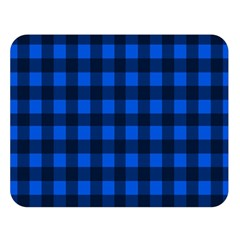 Blue And Black Plaid Pattern Double Sided Flano Blanket (large)  by Valentinaart