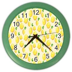 Pattern Template Lemons Yellow Color Wall Clocks