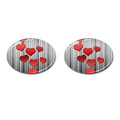 Valentines Day Pattern Cufflinks (oval) by Valentinaart