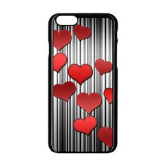 Valentines Day Pattern Apple Iphone 6/6s Black Enamel Case by Valentinaart
