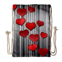 Valentines Day Pattern Drawstring Bag (large) by Valentinaart