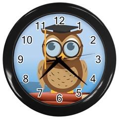 Read Owl Book Owl Glasses Read Wall Clocks (black)
