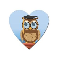 Read Owl Book Owl Glasses Read Heart Magnet by Nexatart