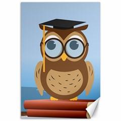 Read Owl Book Owl Glasses Read Canvas 12  X 18
