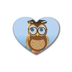 Read Owl Book Owl Glasses Read Heart Coaster (4 Pack)