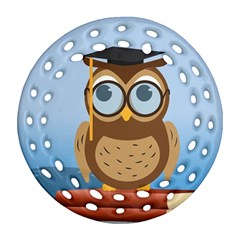Read Owl Book Owl Glasses Read Round Filigree Ornament (two Sides) by Nexatart