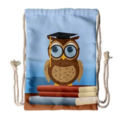 Read Owl Book Owl Glasses Read Drawstring Bag (large) by Nexatart