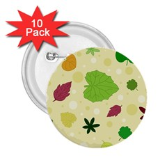 Leaves Pattern 2 25  Buttons (10 Pack)  by Nexatart
