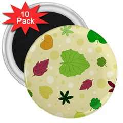 Leaves Pattern 3  Magnets (10 pack)