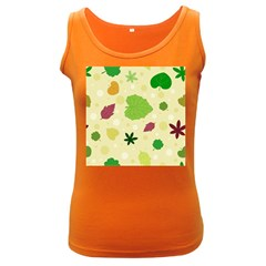 Leaves Pattern Women s Dark Tank Top