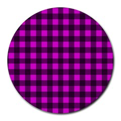 Magenta And Black Plaid Pattern Round Mousepads by Valentinaart