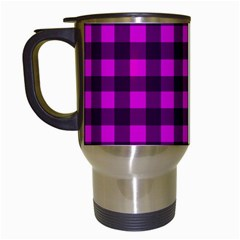 Magenta And Black Plaid Pattern Travel Mugs (white) by Valentinaart