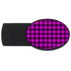 Magenta And Black Plaid Pattern Usb Flash Drive Oval (4 Gb) by Valentinaart