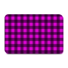 Magenta And Black Plaid Pattern Plate Mats by Valentinaart
