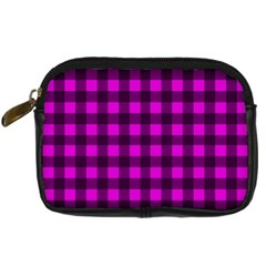 Magenta And Black Plaid Pattern Digital Camera Cases by Valentinaart