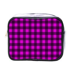 Magenta And Black Plaid Pattern Mini Toiletries Bags by Valentinaart
