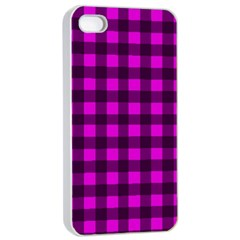 Magenta And Black Plaid Pattern Apple Iphone 4/4s Seamless Case (white) by Valentinaart