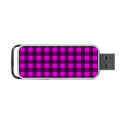 Magenta And Black Plaid Pattern Portable Usb Flash (one Side) by Valentinaart