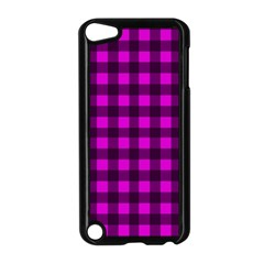 Magenta And Black Plaid Pattern Apple Ipod Touch 5 Case (black) by Valentinaart