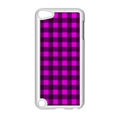 Magenta And Black Plaid Pattern Apple Ipod Touch 5 Case (white) by Valentinaart