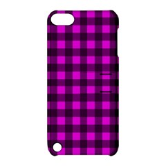 Magenta And Black Plaid Pattern Apple Ipod Touch 5 Hardshell Case With Stand by Valentinaart