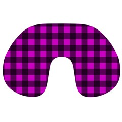 Magenta And Black Plaid Pattern Travel Neck Pillows by Valentinaart