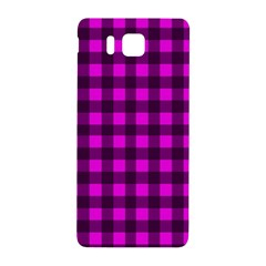 Magenta And Black Plaid Pattern Samsung Galaxy Alpha Hardshell Back Case by Valentinaart