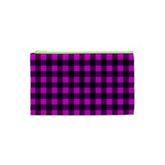 Magenta And Black Plaid Pattern Cosmetic Bag (xs) by Valentinaart