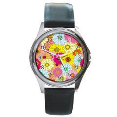Floral Background Round Metal Watch