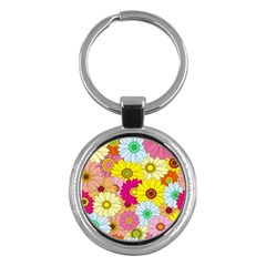 Floral Background Key Chains (round)
