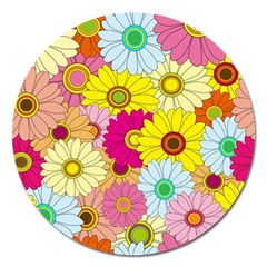 Floral Background Magnet 5  (round)