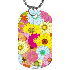 Floral Background Dog Tag (two Sides) by Nexatart
