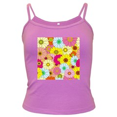 Floral Background Dark Spaghetti Tank