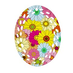 Floral Background Oval Filigree Ornament (two Sides) by Nexatart