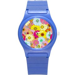 Floral Background Round Plastic Sport Watch (s)