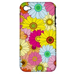 Floral Background Apple Iphone 4/4s Hardshell Case (pc+silicone)