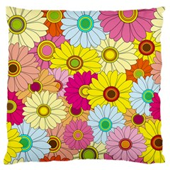 Floral Background Large Flano Cushion Case (two Sides) by Nexatart