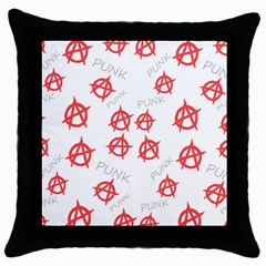 Punk Pattern Throw Pillow Case (black) by Valentinaart