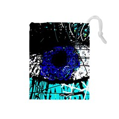 Blue Eye Drawstring Pouches (medium)  by Valentinaart