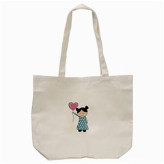 Valentines Day Girl Tote Bag (cream) by Valentinaart