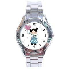 Valentines Day Girl Stainless Steel Analogue Watch by Valentinaart